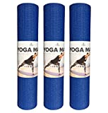 Fitness Guru Exercise Yoga Mat - High-Performance Yoga & Fitness Mat with Carrier Bag and Strap - Perfect for Hot Yoga - Pilates - Crossfit - Extra Thick Perfect for Both Men & Women - 3 Pack