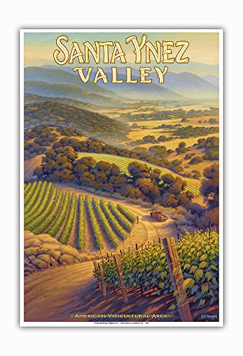 Pacifica Island Art - Santa Ynez Valley Wineries - Central Coast AVA Vineyards - California Wine Country Art by Kerne Erickson - Master Art Print - 13in x (Estate Vineyard Cabernet)