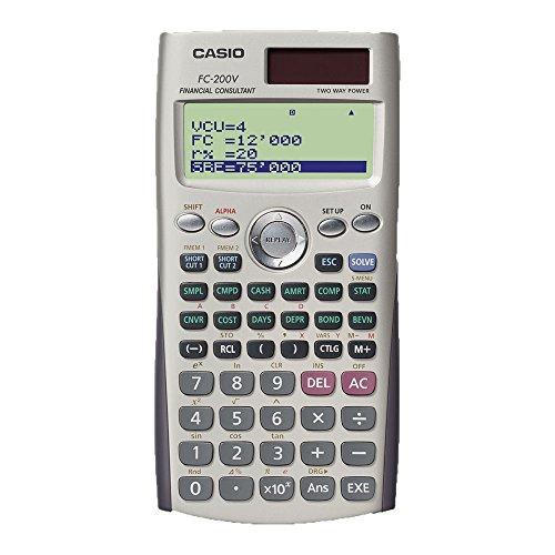 Calculadora Financeira com Monitor de 4 Linhas, Casio FC-200V, Cinza
