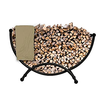 Island Retreat NU2110 Deluxe Steel Firewood Storage with Polyester Cover, 59-in L x 16-in W x 35.5-in H, Black