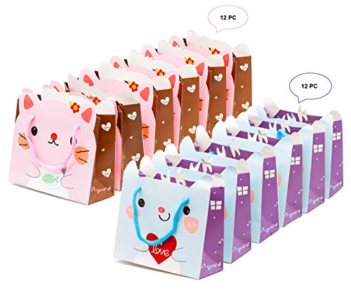24 PC Cute Kitty Gift Bags Party Favor Bags Goodie Bags