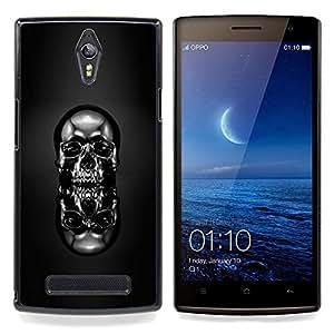 """Qstar Arte & diseño plástico duro Fundas Cover Cubre Hard Case Cover para OPPO Find 7 X9077 X9007 (Cráneo Cromo Negro"""")"""