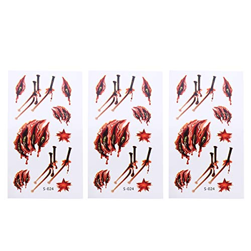 Toyvian Wound Temporary Tattoos Makeup Scar Sticker Horror Tattoos for Cosplay 3Pcs