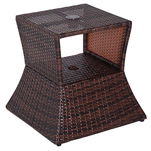Outsunny Wicker Rattan Outdoor Patio Side Table with Umbrella Hole ()