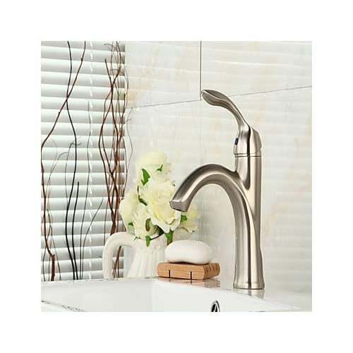 durable service W&P Single Handle Brass Bathroom Faucet Brushed Nickel Basin Mixer Tap
