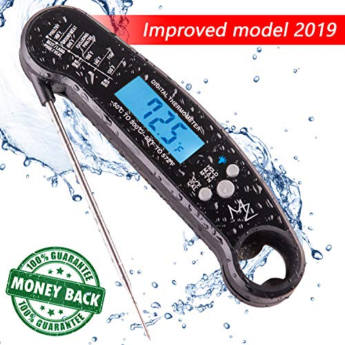 Waterproof Digital Instant Read Food Thermometer for Cooking with Long Probe | Meat BBQ Grill Liquids Candy | Backlight and Calibration | Bottle Opener (Black)