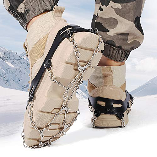I-Tech More Traction Cleats Snow Grips Ice Creepers,Anti Slip 12 Stainless Steel Microspikes Crampons 1 Free Portable Bag Men Women Walking Jogging Hiking Mountaineering (Black)