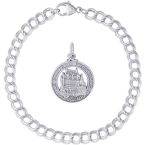 Rembrandt Charms Sterling Silver Chateau Frontenac Charm on a Double Link Bracelet, 8
