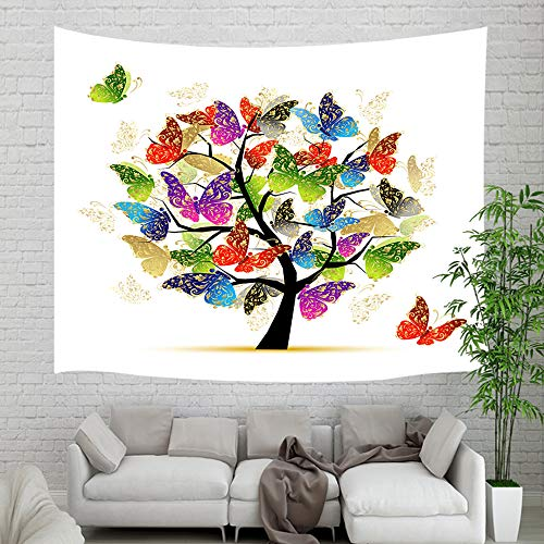 Creative Monarch Butterfly Life of Tree Tapestry,Spring Life Tree Art with Butterflies Tapestry Wall Hangings, Wall Blanket for Home College Dorm Decor Living Room Bedroom Art Wall Decor, 60X40in