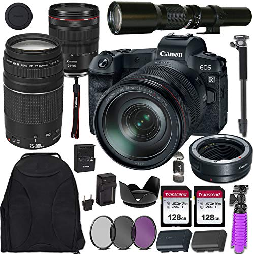 Canon EOS R Mirrorless Digital Camera with RF 24-105mm USM & EF 75-300mm III Lens + 500mm Preset Telephoto Lens Including Mount Adapter & Valued Accessories