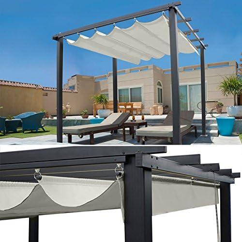 idmarket – Pergola tejado retráctil Beige 3 X 3 M cenador 4 ...