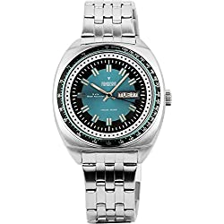 Men's Italian Designed Taxi Driver by Fonderia all Stainless Steel with Green and Black Dial Quartz Watch P-7A004UB2