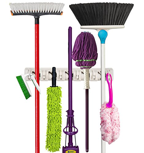 Premium orangizer mop and broom holder wall mounted garden for Gardening tools you must have