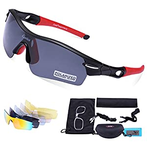 Carfia Polarized Sports Sunglasses UV400 Protection Cycling Sunglasses Goggles with 5 Interchangeable Lenses for Ski Running Cycling Fishing Golf, TR90 Unbreakable Frame (matte black/red-2)