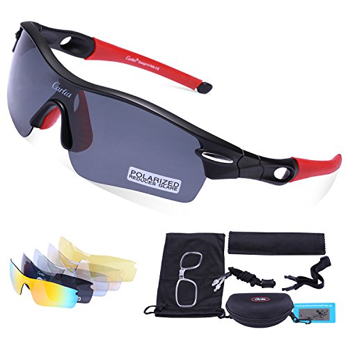 Carfia Polarized Sports Sunglasses UV400 Protection Cycling Sunglasses Goggles with 5 Interchangeable Lenses for Ski Running Cycling Fishing Golf, TR90 Unbreakable Frame (matte - Uk Sunglasses Running