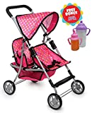 Exquisite Buggy, Twin Doll Stroller with 2 FREE Magic Bottles