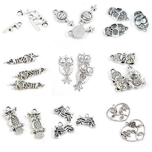 26 PCS Jewelry Making Charms Rose Butterfly Motorcycle Dr. Owl Fortunate Toad Brave Troops Kiss Me Connector