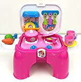 deAO Portable Kitchen Playset with Accessories Included Handy 2in1 Carrycase Stool With Light and Sounds Effect (Pink)