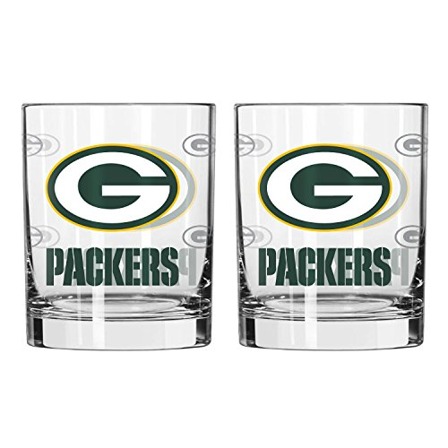 NFL Green Bay Packers Satin Etch Rocks Glass, 14-ounce, - Packers Glass Green Rocks Bay