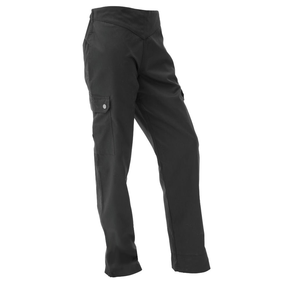 San Jamar LP002BK Poly Cotton Ladies Cargo Pant with 2 Rear and 2 Side Pockets, 2X-Small, Black