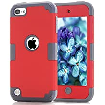iPod touch5 case, iPod touch6 case, (TPU+ Silicone) Anti-slip Shockproof Dustproof slim and stylish protective case for Apple iPod touch 5 6th Generation (Red+dark grey)