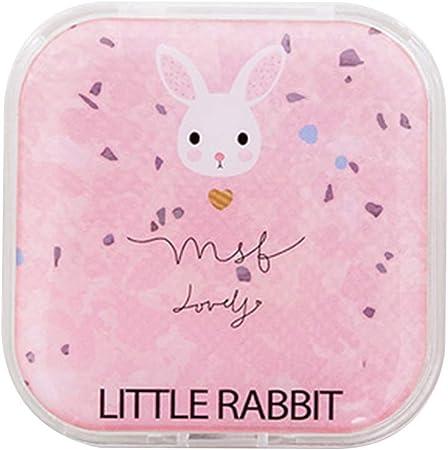 LAMEIDA Estuche de Lentillas Portátil Caja de Lentes de Contacto Cuadrado con Palo Pinzas Botellas Espejo Set de lentes de contacto para viaje con Patrón de unicornio y conejo (Rosa a): Amazon.es: