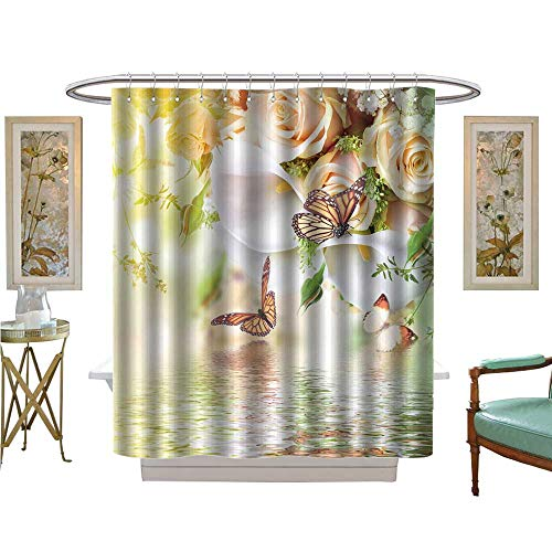 luvoluxhome Shower Curtains Sets Bathroom Bouquet for The Bride of Yellow Roses and White Calla Lilies Butterfly Patterned Shower Curtain W69 x L84