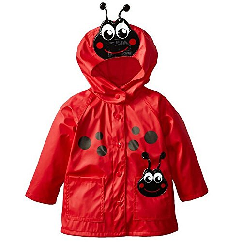 Wennikids Baby Girls Boys Raincoat Windbreaker Hooded Bomber Outerwear Clothes Jacket Small Red