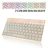 KVAGO Slim Rechargeable 7 Colors Backlight Wireless Bluetooth Keyboard for iPad, iPhone,Smart Phone,Samsung Tablets,Compatible with iOS/Android/Windows System (Gold)