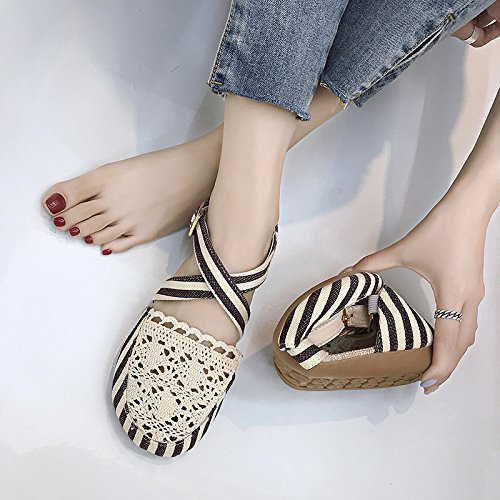 Fée Chaussures New Flat Guang Respirant Sandales Gentle Black 36 Été Hole 36 Xing Sauvage black Rétro Vent Chaussures Baotou Étudiant xz8Zx6Ewqd