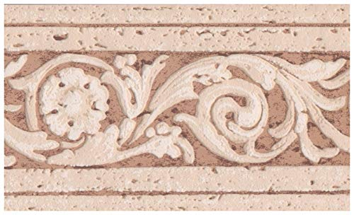 Wall Border - Coconut White Faux Distressed Damask Stone on Sepia Tan Wallpaper Border Retro Design, Prepasted Roll 15 ft. x 4 in. ()