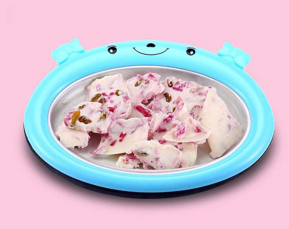 MEISHENG Summer Ice Maker DIY Fried Ice Pan Popsicle Molds Household Pop for Your Kids Ice Cream Energy Saving Fried Yogurt Machine Fruit Mini(Blue Pink),Blue