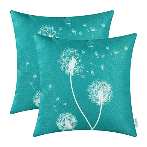 - CaliTime Pack of 2 Canvas Throw Pillow Covers Cases for Couch Sofa Home Decor Solid Dandelion Print 18 X 18 Inches Teal