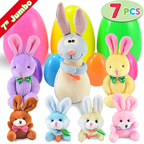 "Pre-Filled Easter Eggs with Plush Bunny, Jumbo 7"" Bright Colorful Easter Eggs Prefilled with Variety Plush Bunnies Combo ()"