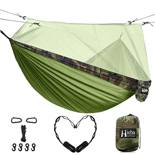 Hieha Double Camping Hammock with Mosquito Net, Portable Nylon Hiking Hammocks for Trees, Travel Outdoor Gear Camping Essential Hammock for 2 Adults