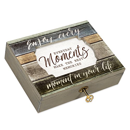 Cottage Garden Every Moment Best Memories Decoupage Denim Stripe Musical Box Plays Tune Wonderful World