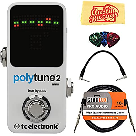 TC Electronic PolyTune 2 Mini Guitar Tuner Pedal Bundle with Gearlux Instrument Cable, Patch Cable, Picks, and Polishing (Small Tuner)