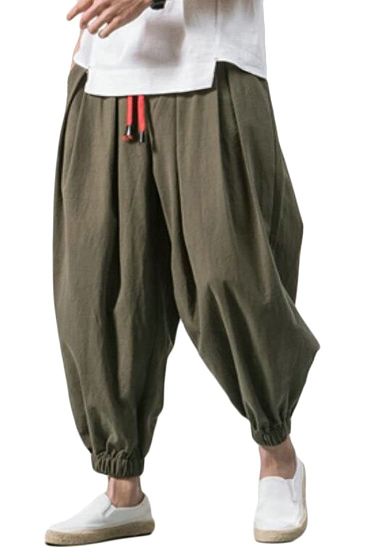 JXG Men Relaxed Fit Drawstring Cotton Linen Chinese Style Harem Pants