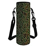 Water Bottle Sleeve Neoprene Bottle Cover,Camo,Military Summer Camouflage Pattern Grungy Texture Hidden in Jungle Retro Style,Khaki Green Brown,Fit for Most of Water Bottles