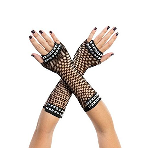 [Gloves Costume Accessory Hand Accessories Halloween 80S Punk Studded Fishnet Gloves] (80s Costumes For Family)