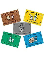 Rekay Pegatinas para el Reciclaje, 5 Etiquetas Adhesivas para Reciclar y Separar Residuos, Etiqueta Cada Cubo de Basura con Adhesivos en Español de 8,5x5,5 cm Cada uno.
