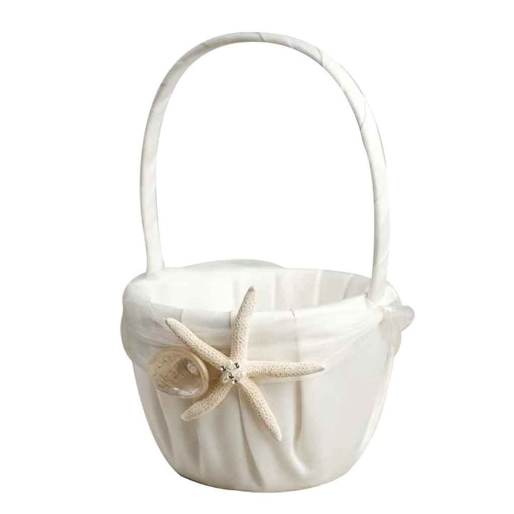 WElinks Wedding Flower Basket, Beach Theme Stafish Seashell Design Wedding Girls Flower Basket, Wedding Romantic Flower Girl Baskets for Wedding Ceremony Party Birthday Party Baby Shower Favors