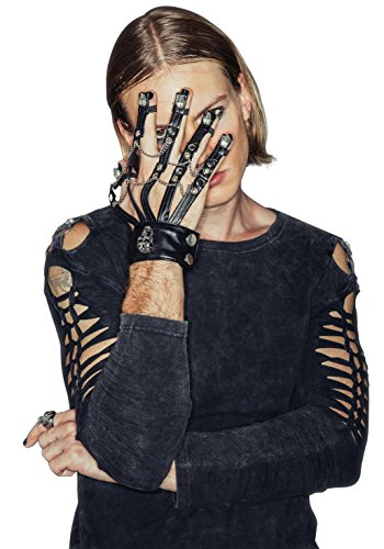 [Steampunk Leather Cosplay Skeleton Men Stylish Motorcycle Bike Gothic Gloves] (Mardi Gras Outfit Ideas)