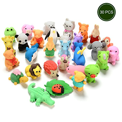 30PCS Japanese Animal Erasers for kids Assorted Set Adorable Cute Animals Toys Educational Gift Party Favors for Boys Girls Childrens (Party Favors Girls)