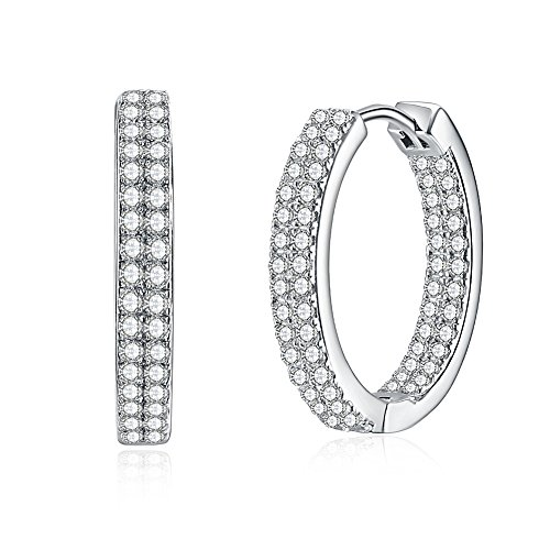 - Kalapure 4mm Wide 925 Sterling Silver Hoop Earrings, 18k White Gold Plated Double Channel Sets Round Huggie Hoop Earrings with Clear Cubic Zirconia Swarovski Crystals 0.71