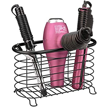 mDesign Metal Wire Hair Care & Styling Tool Organizer Holder Basket - Bathroom Vanity Countertop Storage Container for Hair Dryer, Flat Irons, Curling Wands, Hair Straighteners - Black