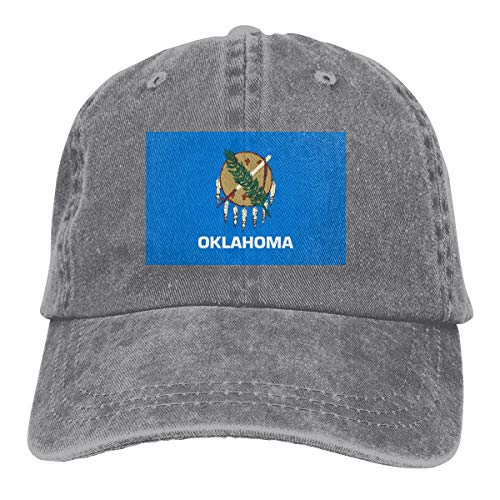 2 Pack Flag of Oklahoma Adjustable Baseball Cap Dad Hat for Adult Gray