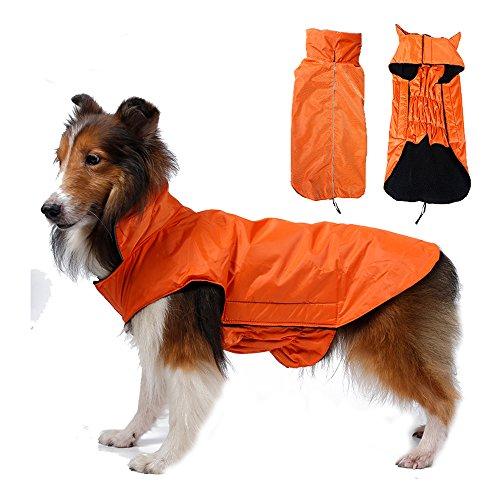 SUPEREX® Pet Dog Coat Jacket Hund costüm wasserdicht Hundepullover Hundemantel, Regenjacke Regenmantel Winterjacke Hundebekleidung Hundejacke winter Warm Wintermantel Hundemantel für kleine mittlere große Hunde (Orange, L)