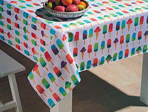 - Cynthia Rowley Easy Care Tablecloth Popsicles Ice Cream Cones Bright Summer Colors on White (52 Inches x 70 Inches)
