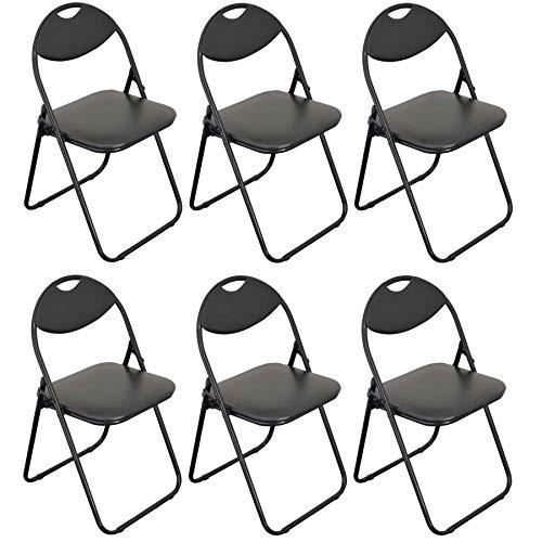 Harbour Housewares Black Padded, Folding, Desk Chair/Black Frame - Pack of 6